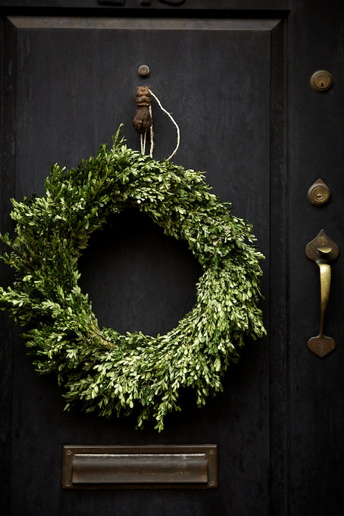 An elegant Boxwood wreath. Simple and timeless