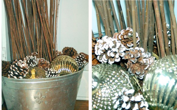 An old tin bucket finds a new home for the holidays, adding some natural elegance to a neglected corner.