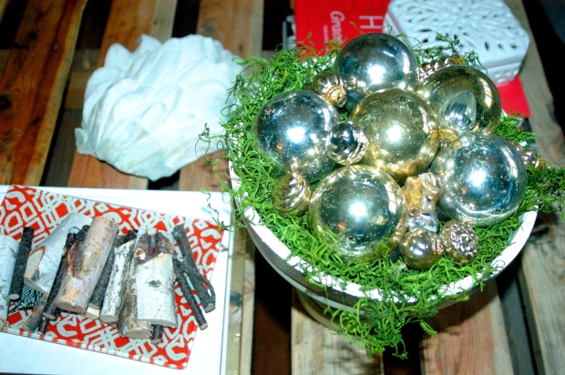 Fill a bowl with an assortment of mercury glass ornaments.  Most of mine came from Pottery Barn.